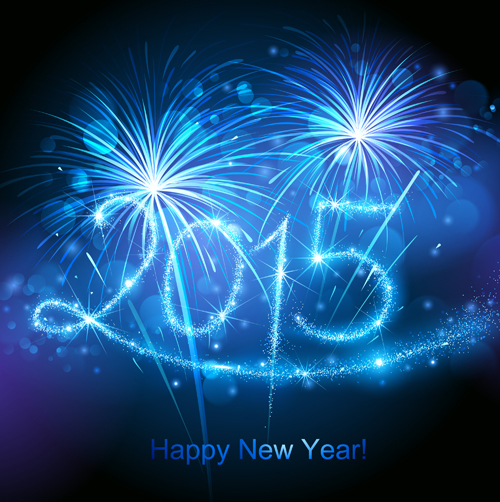 blue fireworks with 2015 new year background 01 vector