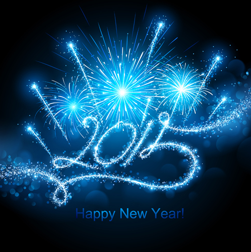 blue fireworks with 2015 new year background 02 vector