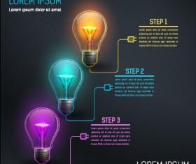 Bulb idea black business template vector 01