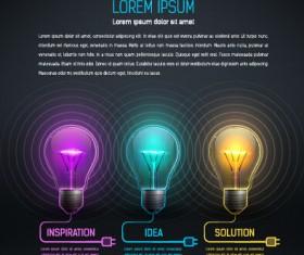 Bulb idea black business template vector 02