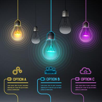 Bulb idea black business template vector 05