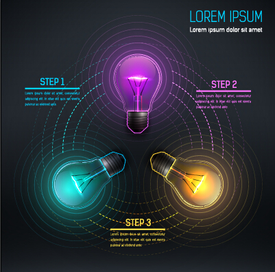 Bulb idea black business template vector 06