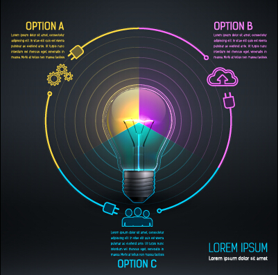 Bulb idea black business template vector 08