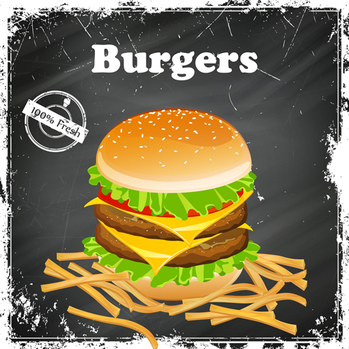 Burgers retro grunge background vector
