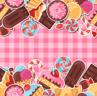 Candy And Sweets Vector Background Set 02 Vector