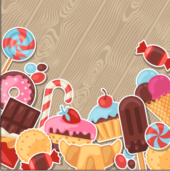 candy and sweets vector background set 05 free download