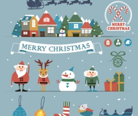 Cartoon style christmas with new year background 02