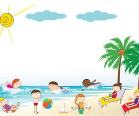 Children and beach summer background vector 01