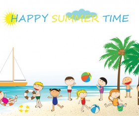 Children and beach summer background vector 02