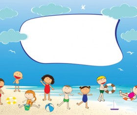 Children and beach summer background vector 03