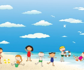 Children and beach summer background vector 04