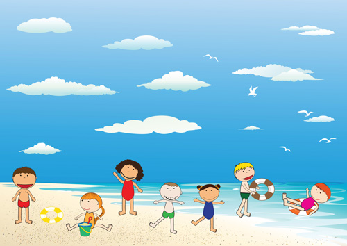 Children And Beach Summer Background Vector 04 Vector