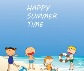Children and beach summer background vector 05