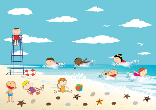 children and beach summer background vector 06 - Summer Pictures For Kids