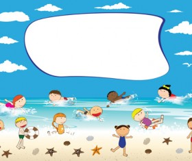 Children and beach summer background vector 07
