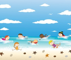 Children and beach summer background vector 08