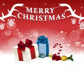 Christmas gift with red shiny background vector