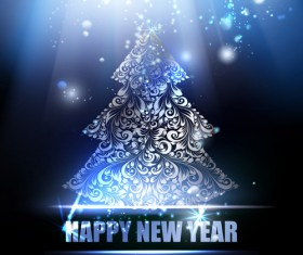 Christmas tree with new year blue background