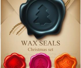 Christmas wax seals design vector