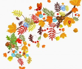 Colored autumn leaves with fructification backgrounds vector 01