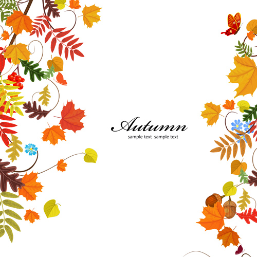 Colored autumn leaves with fructification backgrounds vector 02