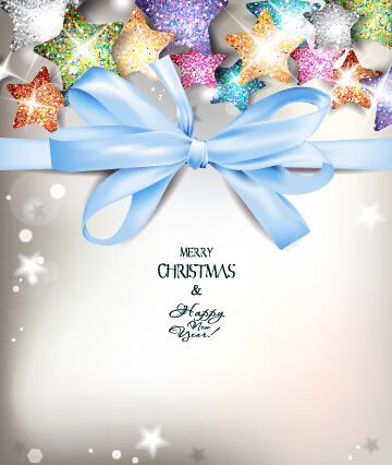 Colored stars with blue bow xmas background