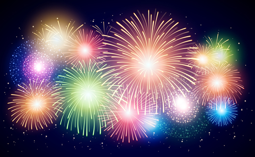 Colorful Fireworks Holiday Celebratory Vector 05 Vector