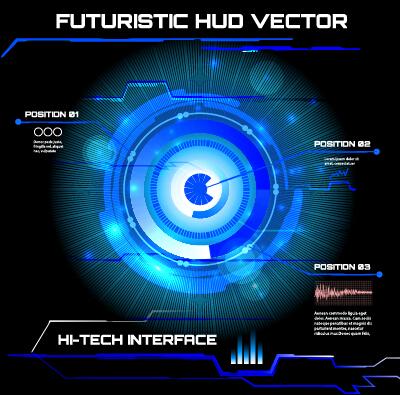 Concept futuristic tech background vector 01