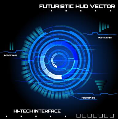 Concept futuristic tech background vector 02