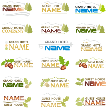 Creative hotel logos set vector