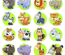 Cute animal round icons set vector 01