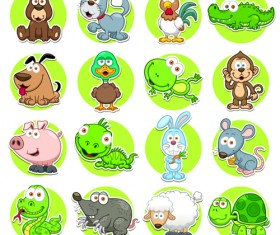 Cute animal round icons set vector 02