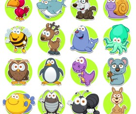 Cute animal round icons set vector 03