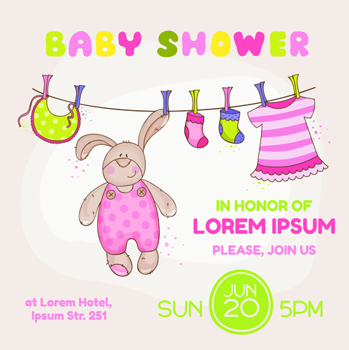 Cute baby shower cards vector 02