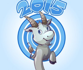 Cute goat 2015 art background 03