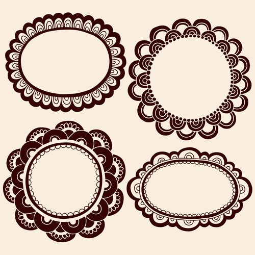 Cute hand drawn framework vector material 02