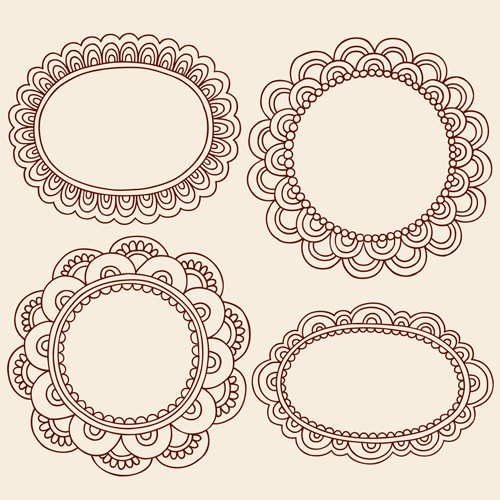 Cute hand drawn framework vector material 03