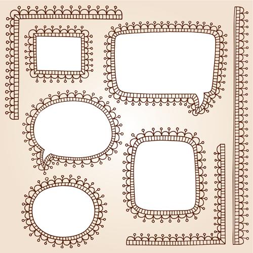 Cute hand drawn framework vector material 04
