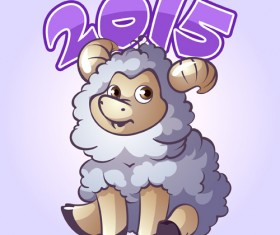 Cute sheep 2015 art background 01