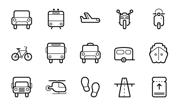 Cute Transportation Outline Icons Free Download