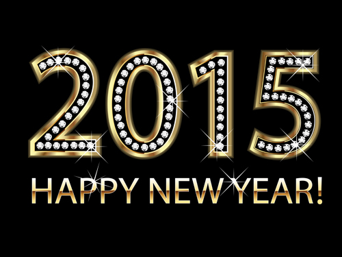 Diamond with gold 2015 new year background