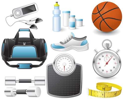 Different sports equipment vector icons 01