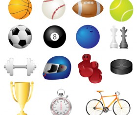 Different sports equipment vector icons 02