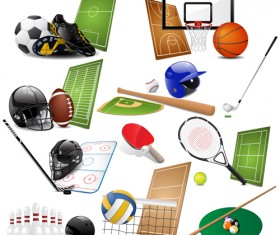 Different sports equipment vector icons 03