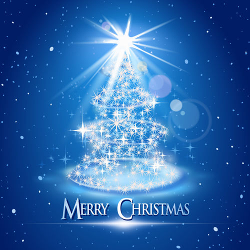 Dream christmas tree blue background 01