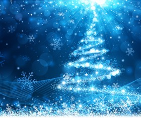 Dream christmas tree blue background 02