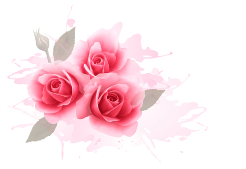 Elegant Roses With Watercolor Background Vector Free Download