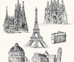 Famous cities buildings hand drawn vector 01