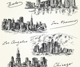 Famous cities buildings hand drawn vector 02