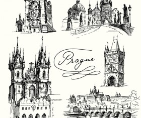 Famous cities buildings hand drawn vector 03